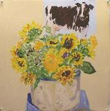 Sunflowers & Cow